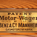 Az első szabadalmaztatott személygépkocsi táblája